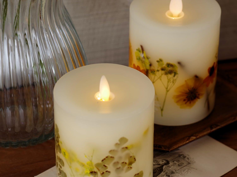 押し花が光に透ける美しいLEDキャンドル ボタニカルLEDキャンドル3