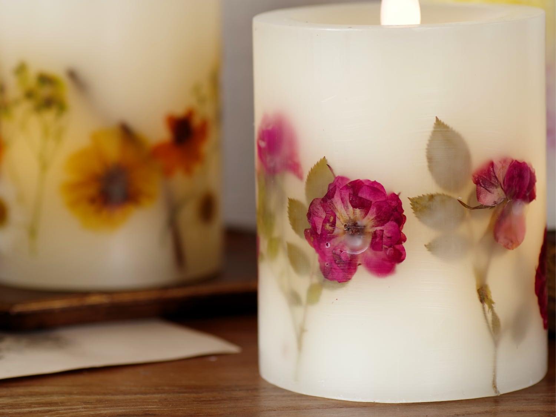 押し花が光に透ける美しいLEDキャンドル ボタニカルLEDキャンドル2